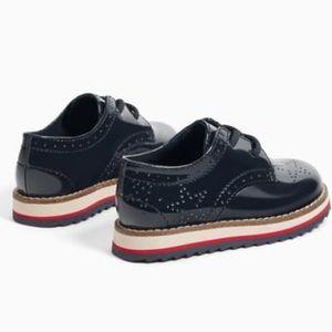 Zara Girls' Navy Patent Leather Derby Dress Shoes